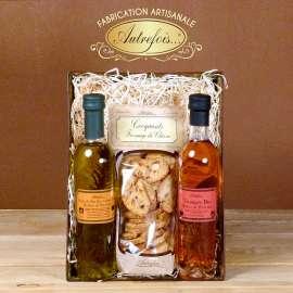 Coffret Huile d'Olives bio, Vinaigre bio & Croquants Chèvre