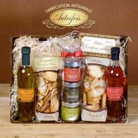 Coffret Huile d'olive Bio, Vinaigre bio, Croquants & croutons