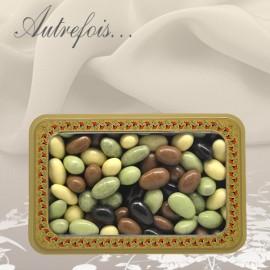 Boite décorée Olives au Chocolat, Amandises Caramels et Amandises Crème Brulée 350g