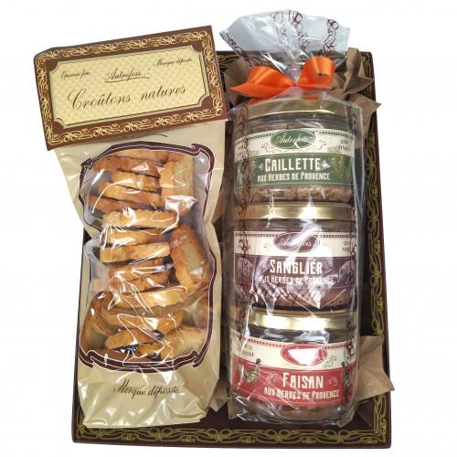 Coffret 3 terrines provençales et 1 sachet de croûtons natures